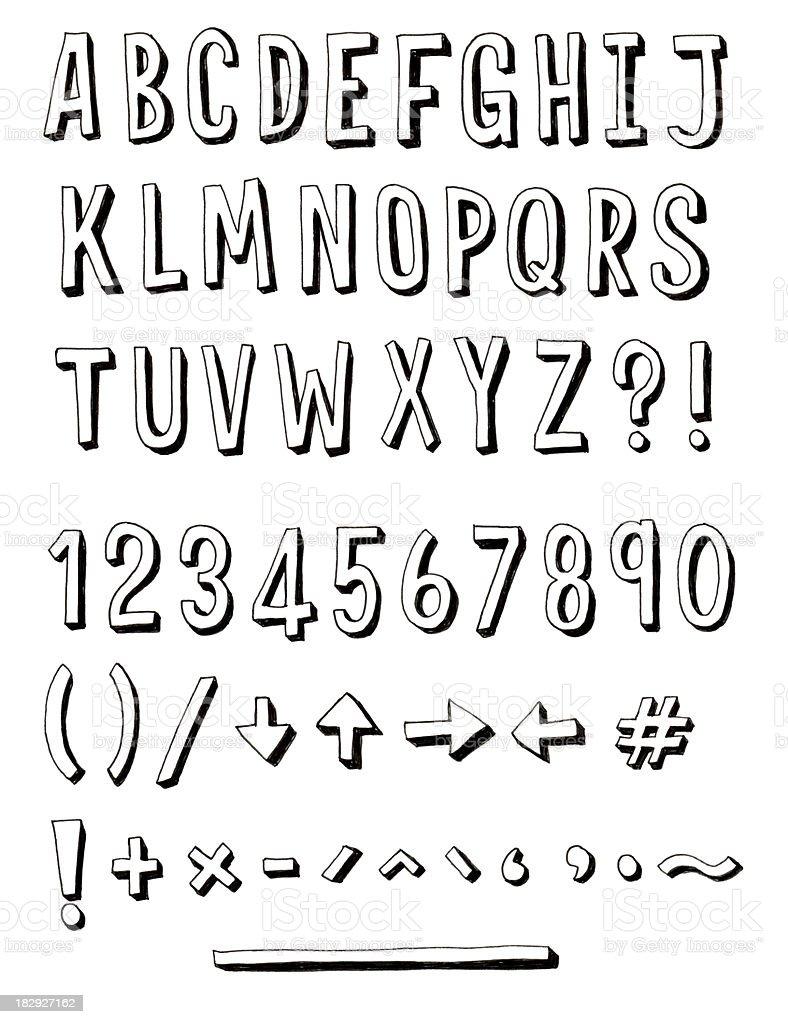 Dünn Hand gezeichneten alphabet – Vektorgrafik