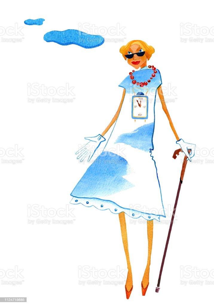 Mujer flaca con un ladrón en un vestido con una impresión de la moda - ilustración de arte vectorial