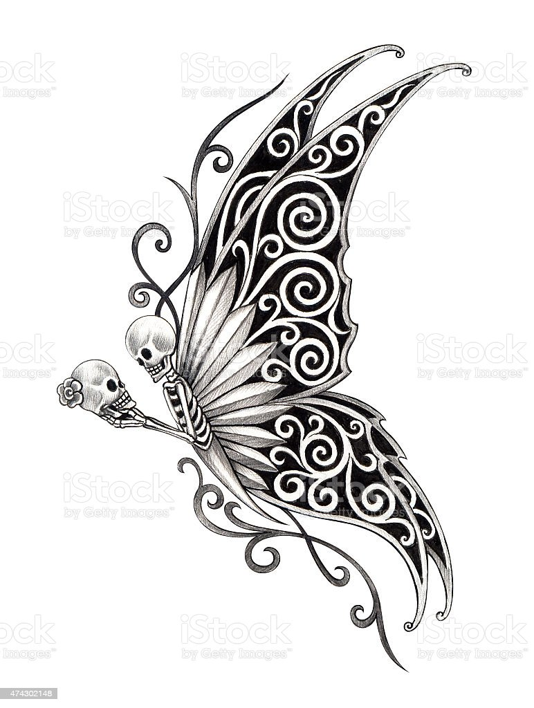skull art butterfly tattoo stock vector art more images of 2015 474302148 istock. Black Bedroom Furniture Sets. Home Design Ideas