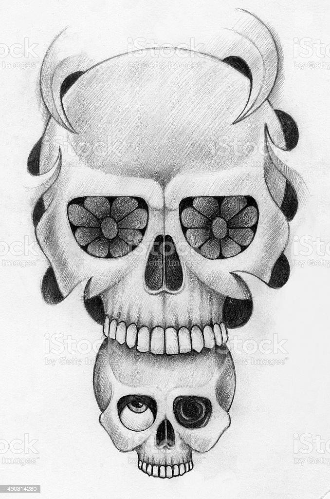 Schädel Kunst Tattoo Stock Vektor Art und mehr Bilder von ...