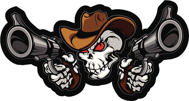schädel-cowboy zielen waffen - kopfschüsse stock-grafiken, -clipart, -cartoons und -symbole