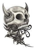 Skull devil art tattoo.