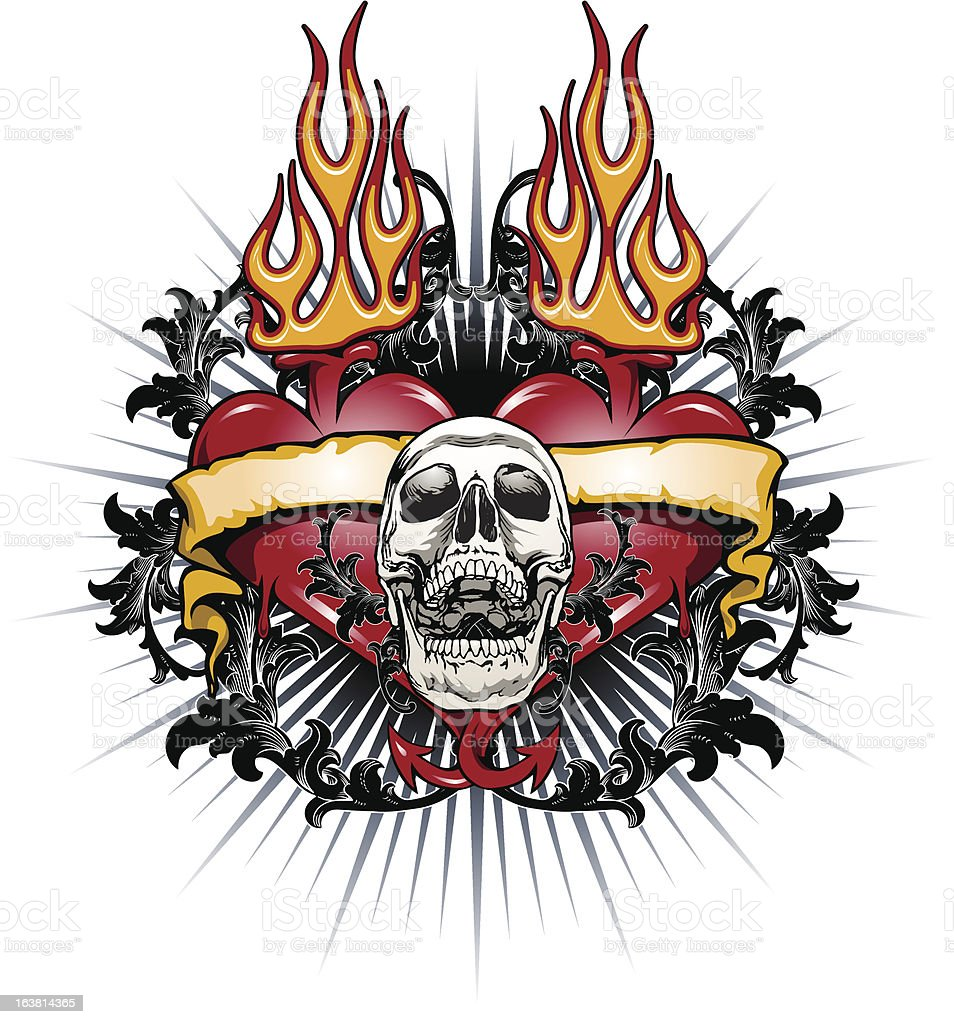 skull hearts tattoo stock vector art more images of animal