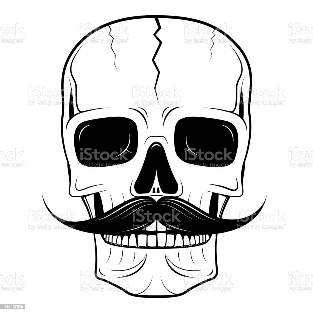 Skull illustration - moustache royalty-free skull illustration moustache stock vector art & more images of anatomy