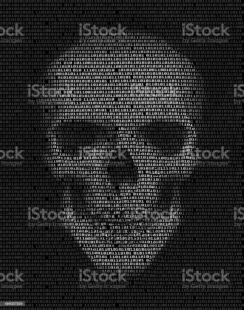 Skull made of  binary code. Hacker, cyber war symbol. vector art illustration