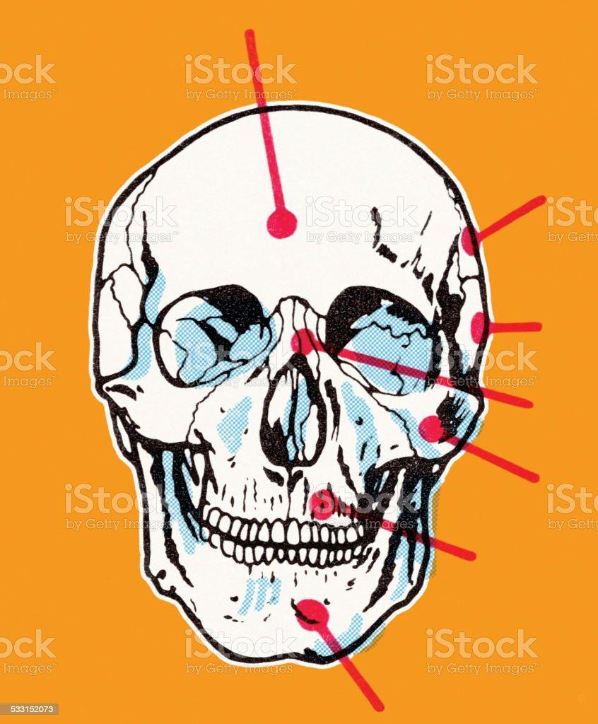 Skull on Orange Background vector art illustration