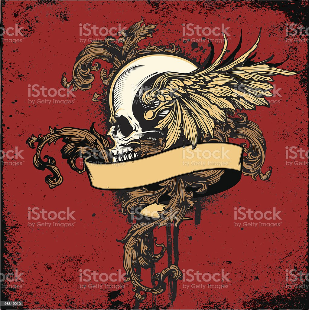 Skull Profile with Wings and Banner Ornamental Tattoo Design royalty-free skull profile with wings and banner ornamental tattoo design stock vector art & more images of ancient