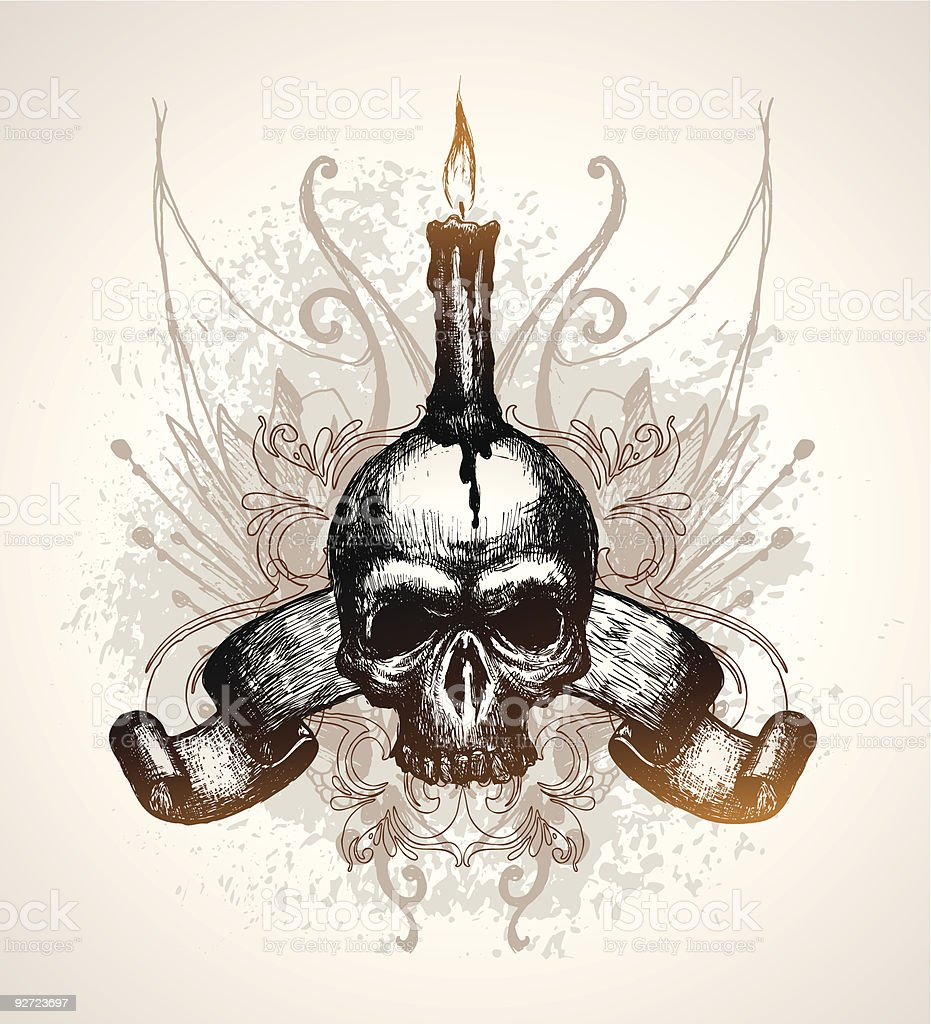Skull, scroll and candle royalty-free stock vector art