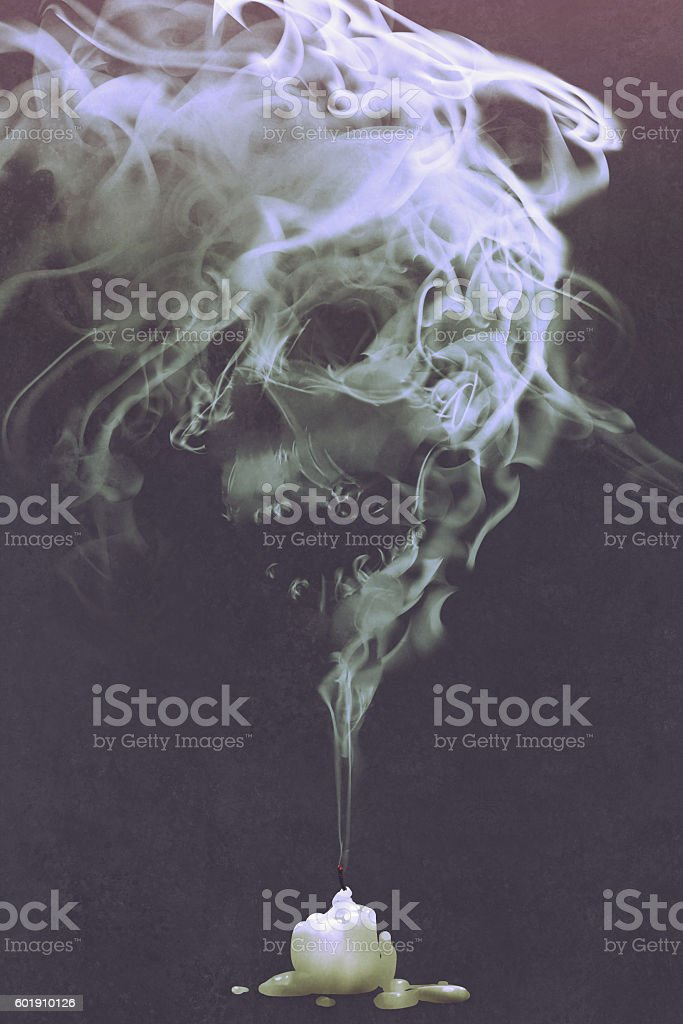 skull shaped smoke comes out from burnt candle vector art illustration