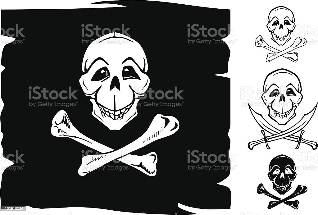 Skull smiling with crossbones vector art illustration