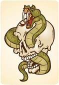 """tattoo style illustration of a snake in a skull, snakes love skulls, they make a cozy home"""