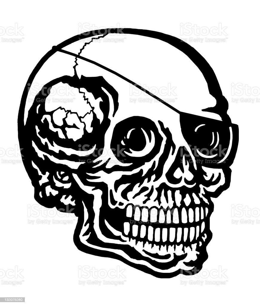 Skull Wearing Eye Patch royalty-free stock vector art