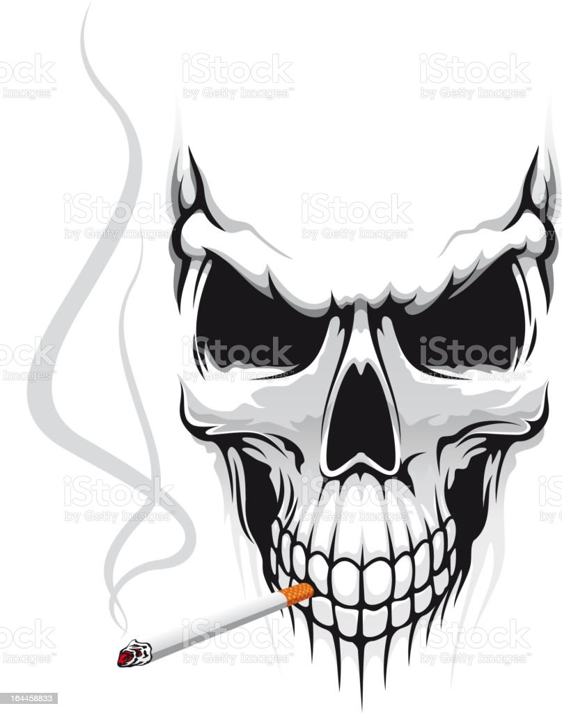Skull with cigarette royalty-free stock vector art