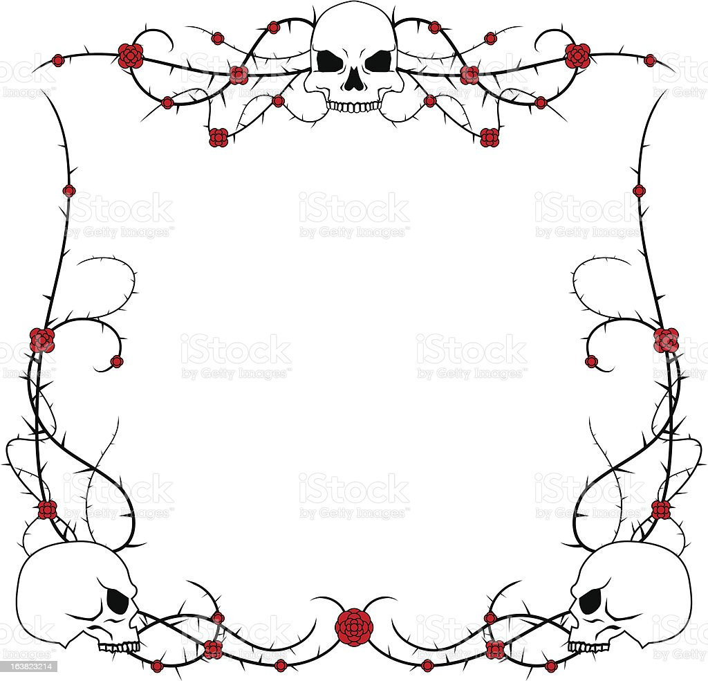 Skulls and roses vector art illustration