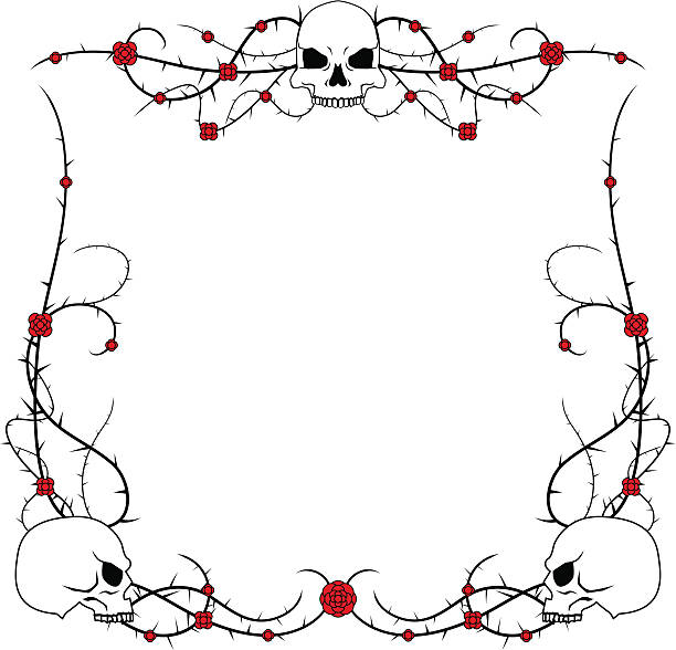 skulls and roses - thorn stock illustrations