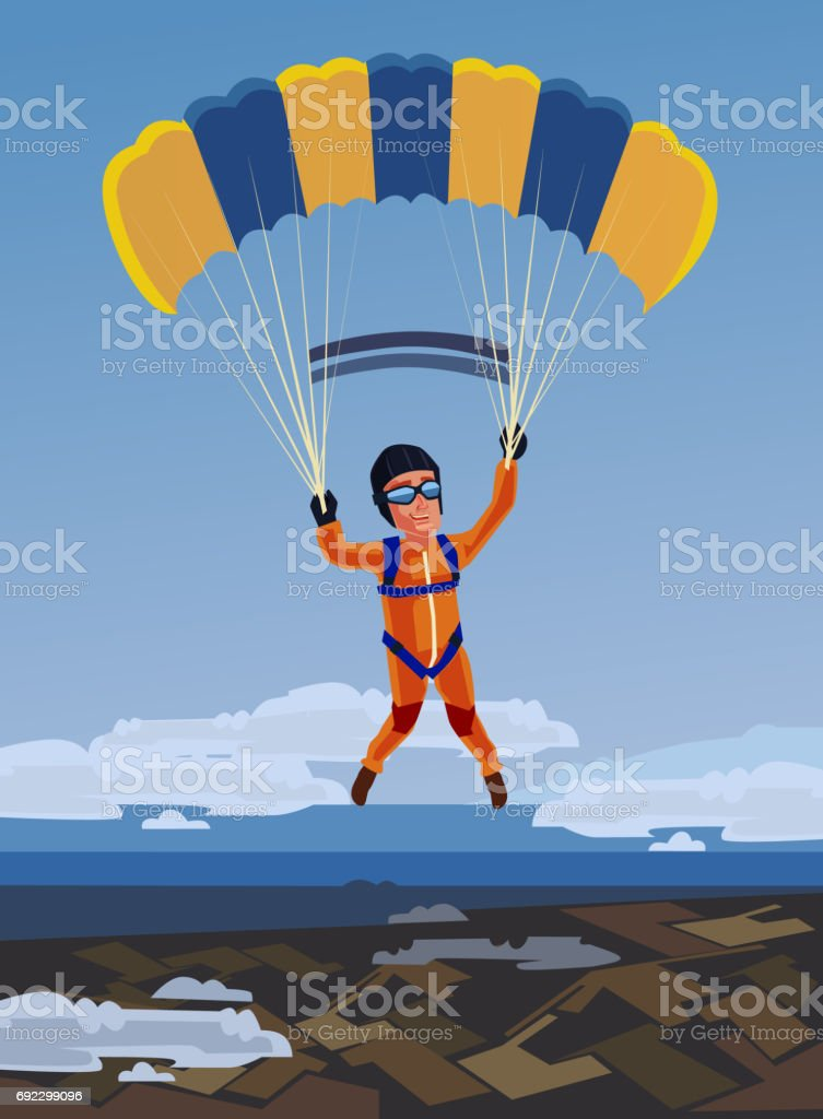 Sky diving happy smiling sportsman jump and fly with open parachute vector art illustration