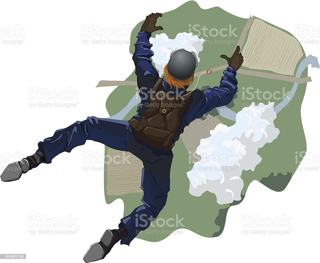 Skydiver flying to the ground. vector art illustration