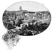 High angle cityscape of downtown Bern the de facto capital of Switzerland. Vintage halftone etching circa late 19th century.