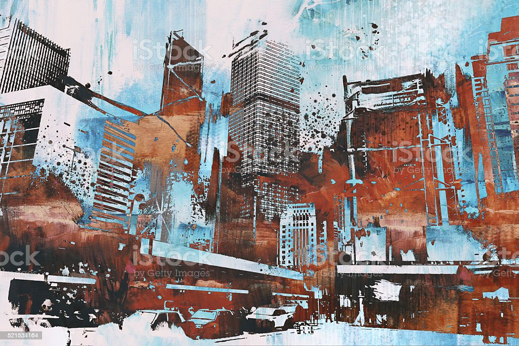 skyscraper with abstract grunge vector art illustration