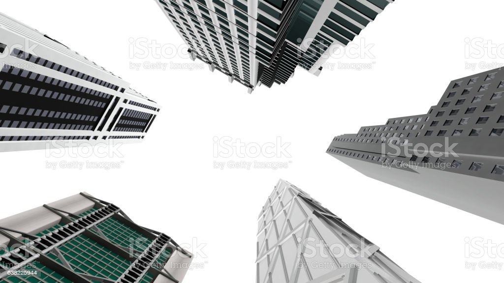 Skyscrapers, bottom view vector art illustration