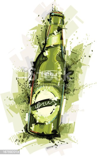 Image shows a  beer bottle in sketchy art; vectorimage with only one layer, without opening shapes and gradients; big jpeg (350DPI); digital drawing with free wild style; fantasy drawing; better for white backgrounds
