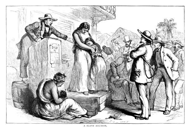 Slave Auction vector art illustration