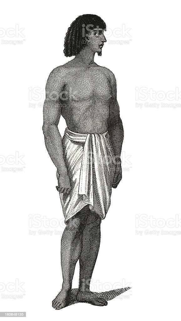 Slave from Ancient Egypt (antique wood engraving) royalty-free slave from ancient egypt stock vector art & more images of 19th century