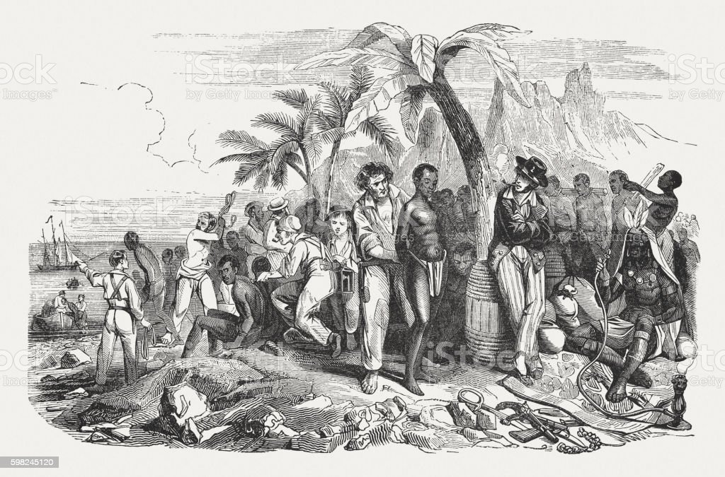 Slave market on the African coast, wood engraving, published 1855 vector art illustration