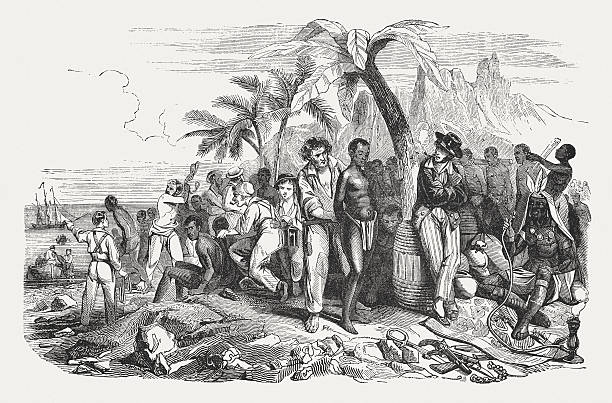 Slave market on the African coast, wood engraving, published 1855 A slave market on the African coast in the 19th century. Wood engraving, published in 1855. human trafficking stock illustrations