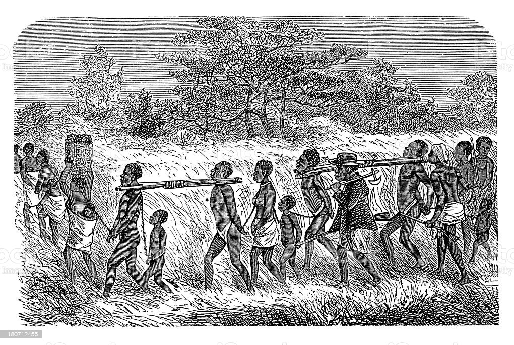 Slaves in Africa (antique wood engraving) vector art illustration