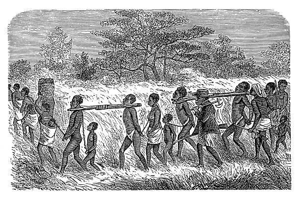 Slaves in Africa (antique wood engraving) vector art illustration