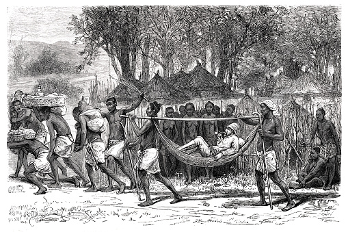 Olanda, Sankuru, Democratic Republic of the Congo Original edition from my own archive Source : Tour du monde 1877 Drawing : D. Maillart