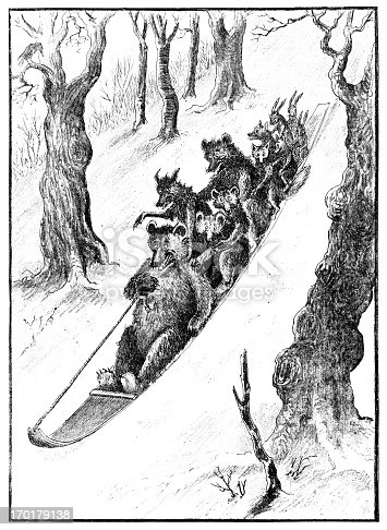 istock Sledge full of animals going down a snowy slope 170179138