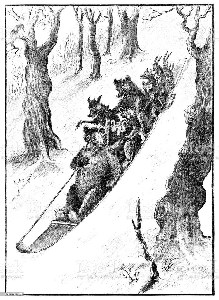 Sledge full of animals going down a snowy slope vector art illustration