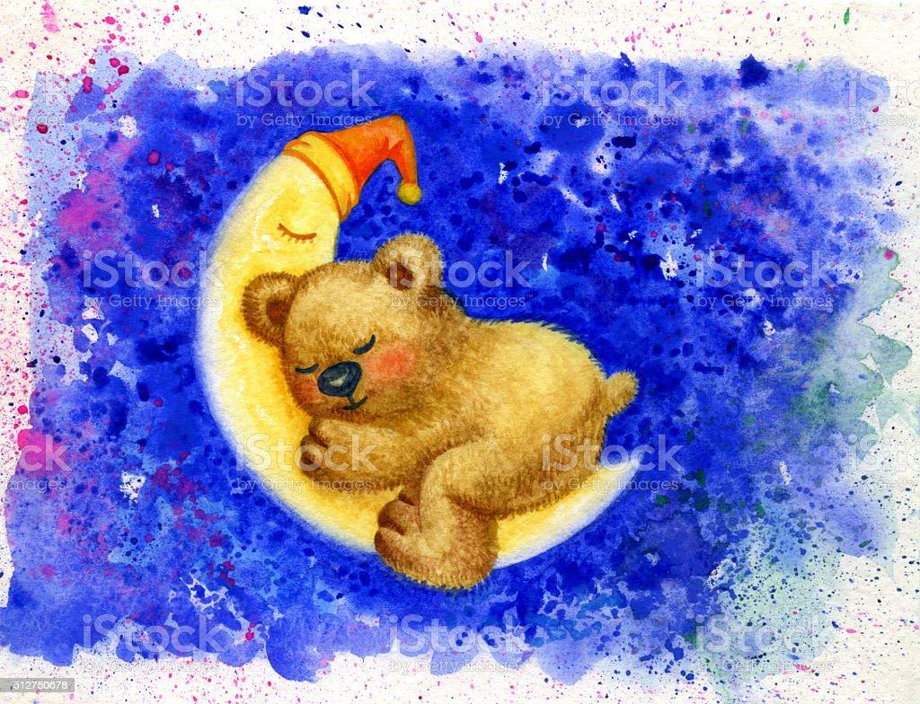 Sleeping bear on moon. vector art illustration