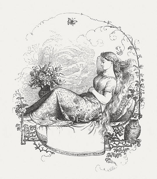 sleeping girl., wood engraving, published in 1860 - great horned owl stock illustrations, clip art, cartoons, & icons