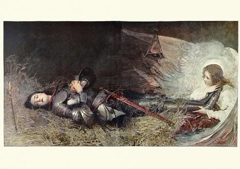 Sleeping Joan of Arc, an angel at her feet