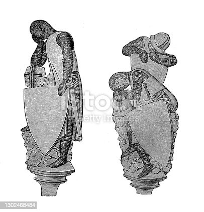 istock Sleeping knights in chainmail and armor, 13th century ,Sculptures in the Chapel of the Holy Grave in the Dome in Constance 1302468484
