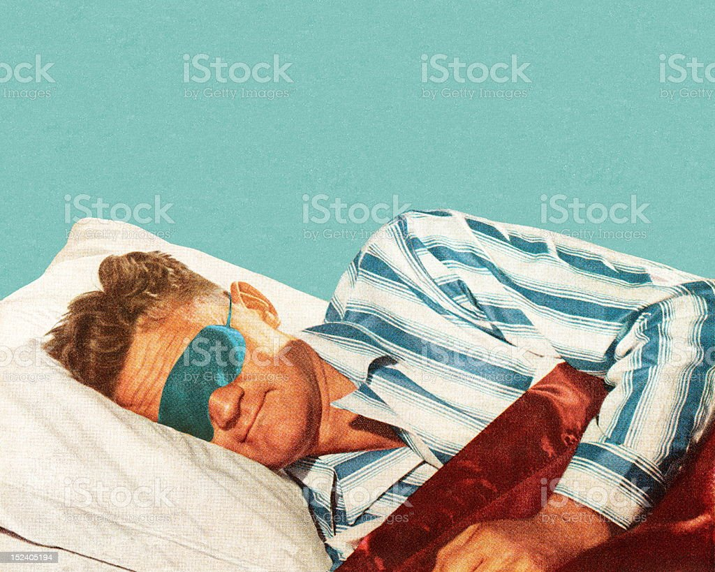 Sleeping Man Wearing Eye Mask vector art illustration