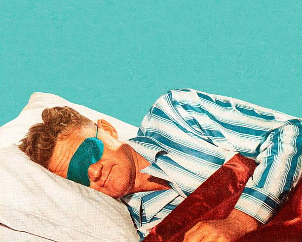 ilustraciones, imágenes clip art, dibujos animados e iconos de stock de dormitorio man wearing máscara para los ojos - man sleeping