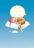 Illustration of a boy sleeping on a cloud.