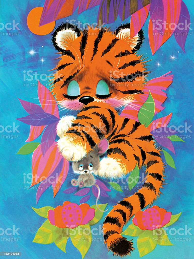 Sleepy Tiger and Mouse royalty-free stock vector art