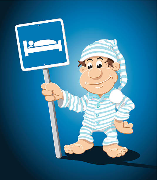 "Sleepyhead Cartoon Man Lodging Sign ""Vector Illustration of a cartoon sleepyhead, who is holding a hotel road sign with a bed. The background is on a separate layer, so you can use the illustration on your own background. The colors in the .eps-file are ready for print (CMYK). Included files: EPS (v8) and Hi-Res JPG."" cartoon people sign stock illustrations"