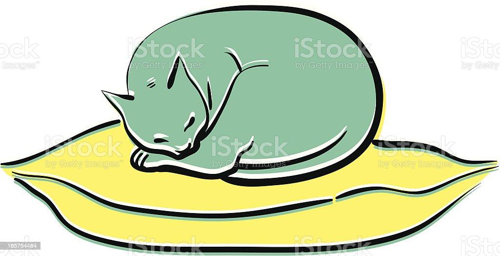 Slepping Cat vector art illustration