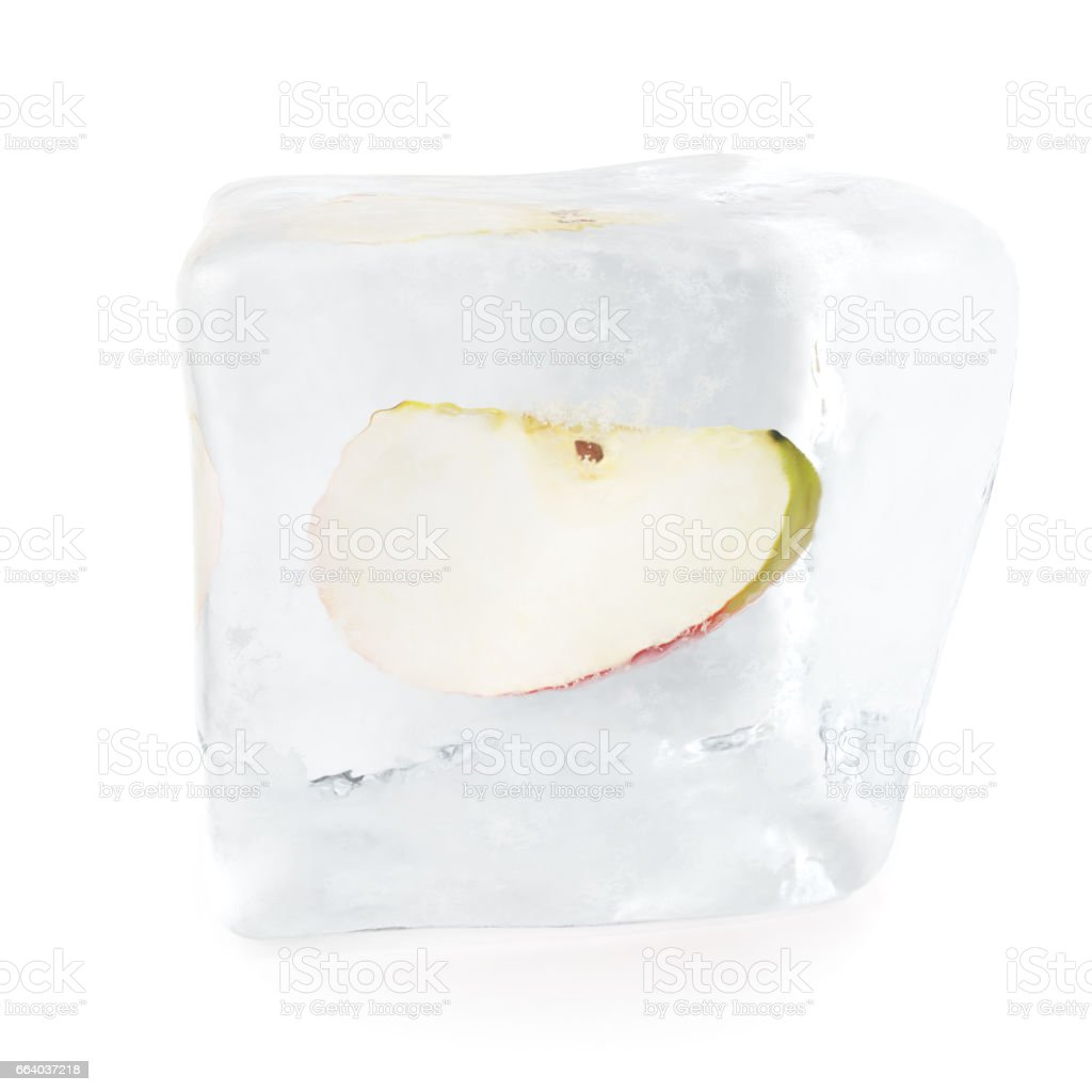 Slice Apple Frozen In Ice Cube Front View Single