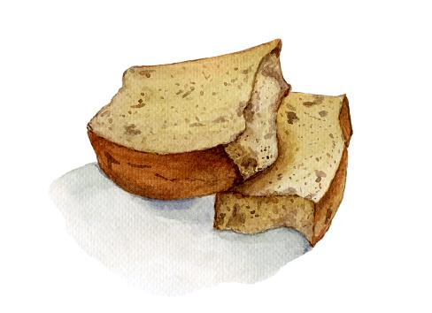 Slice of banana bread watercolor