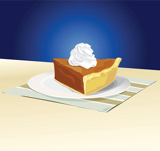 Slice of Pumpkin Pie with Whipped Cream vector art illustration
