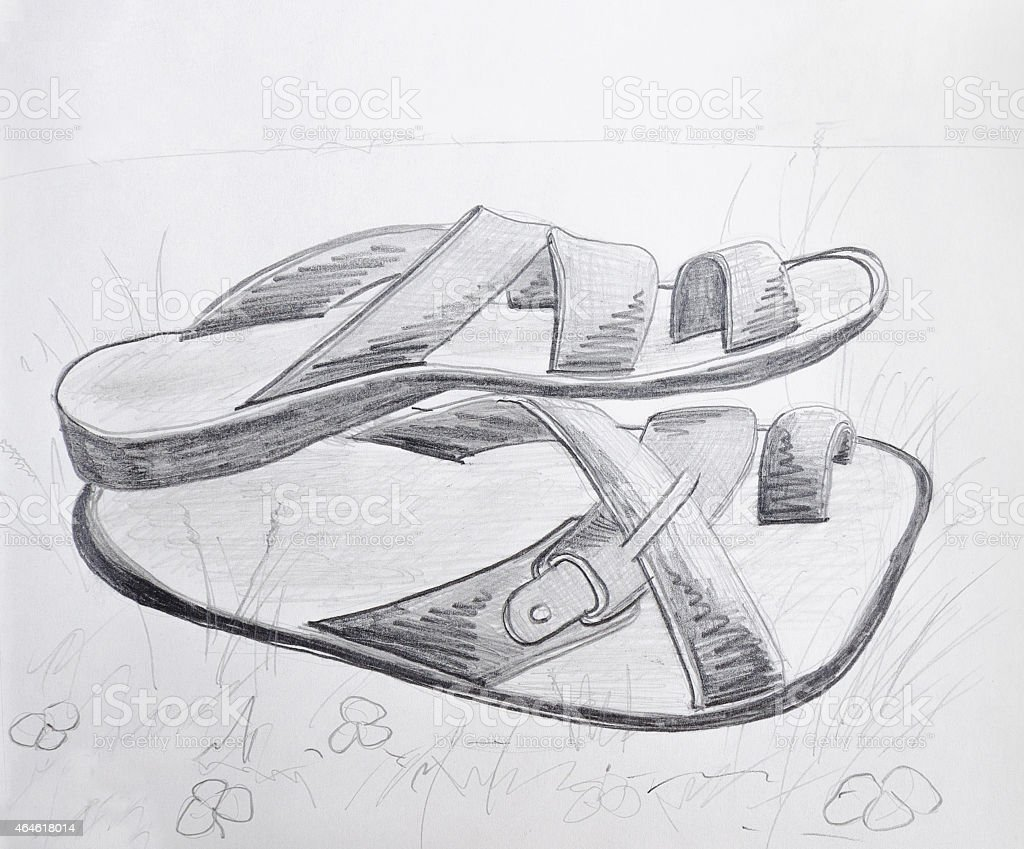 Slippers pencil drawing illustration