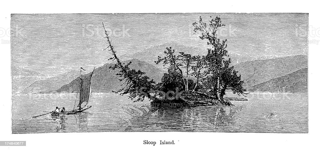 Sloop Island, Lake George, New York vector art illustration