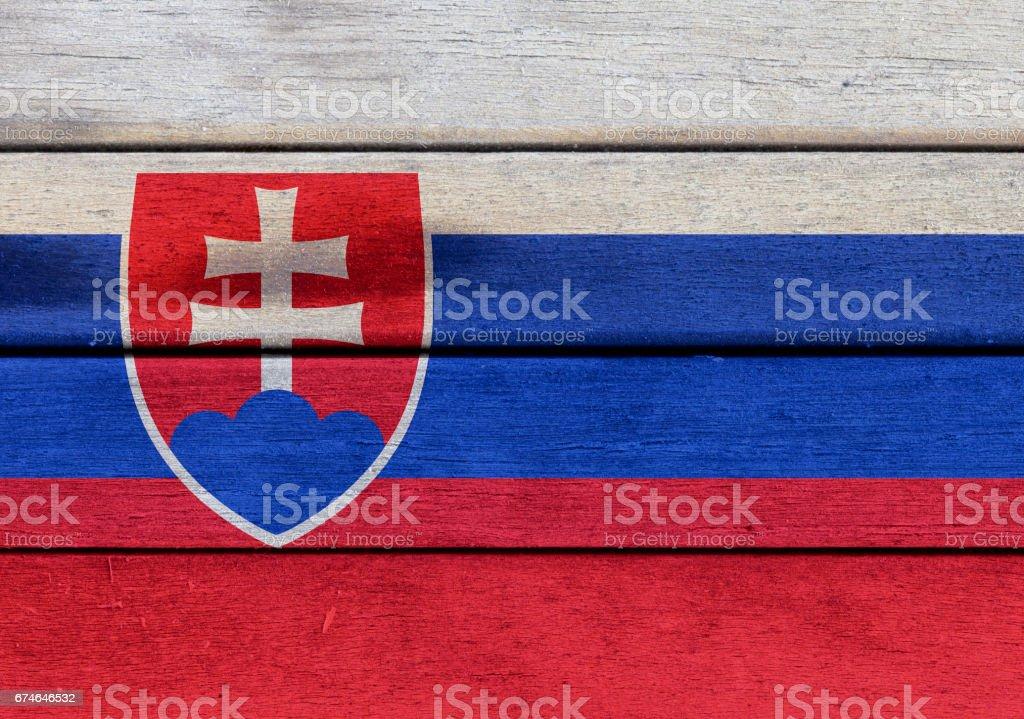 Slovakia flag on a wood vector art illustration